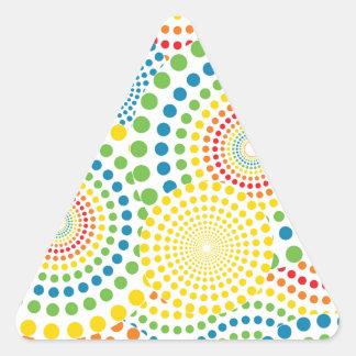 Colourful pointillism pattern triangle sticker