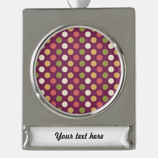 Colourful polkadots silver plated banner ornament
