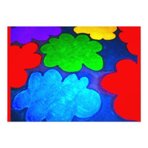 "Colourful Popcorn Clouds 5"" X 7"" Invitation Card"