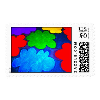 Colourful Popcorn Clouds Postage