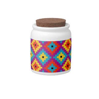 Colourful Primitive Mayan Bricks Pattern Candy Jars