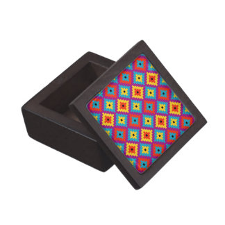 Colourful Primitive Mayan Bricks Pattern Jewelry Box