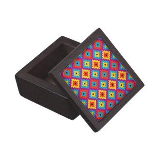 Colourful Primitive Mayan Bricks Pattern Jewelry Box