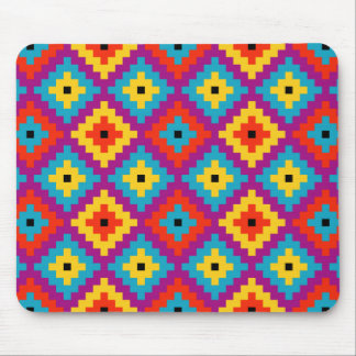 Colourful Primitive Mayan Bricks Pattern Mouse Pad