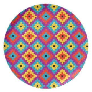 Colourful Primitive Mayan Bricks Pattern Plate
