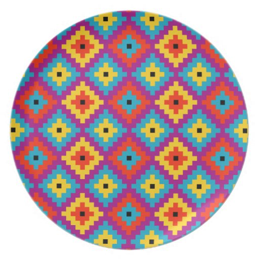 Colourful Primitive Mayan Bricks Pattern Party Plates