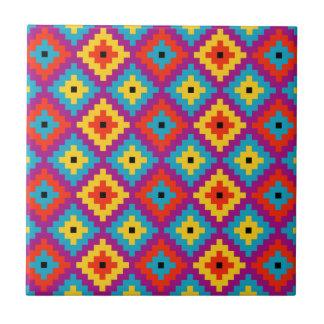 Colourful Primitive Mayan Bricks Pattern Tiles