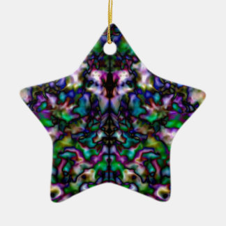 Colourful psychedelic kaleidoscope pattern Double-Sided star ceramic christmas ornament