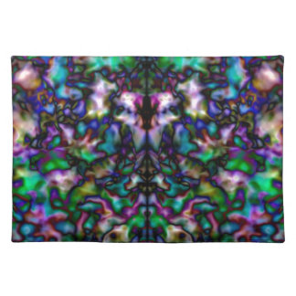 Colourful psychedelic kaleidoscope pattern placemat