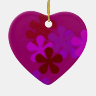 Colourful Purple Flowers >Heart Ornaments