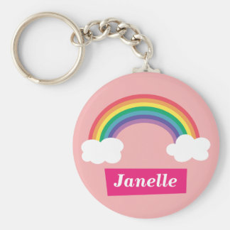 Colourful Rainbow and clouds, for Little Girls Basic Round Button Keychain