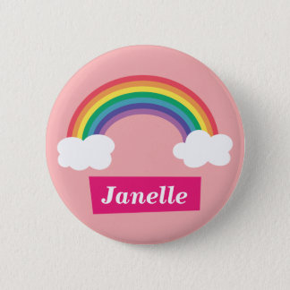 Colourful Rainbow and clouds, for Little Girls Button