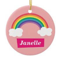 Colourful Rainbow and clouds, for Little Girls Ceramic Ornament