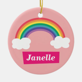 Colourful Rainbow and clouds, for Little Girls Double-Sided Ceramic Round Christmas Ornament