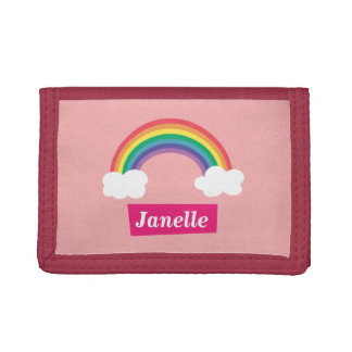Colourful Rainbow and clouds, for Little Girls Trifold Wallet