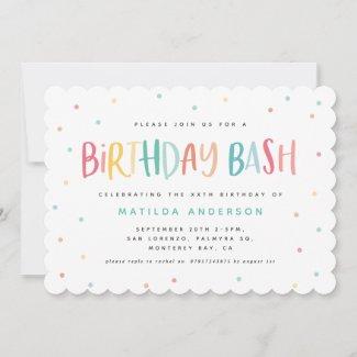 Colourful rainbow birthday bash polka dots invite