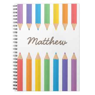 Colourful Rainbow Colouring Pencils Kids Notebook