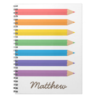 Colourful Rainbow Colouring Pencils School Kids Spiral Notebook
