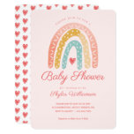 Colourful Rainbow & Hearts Girl Baby Shower Invitation