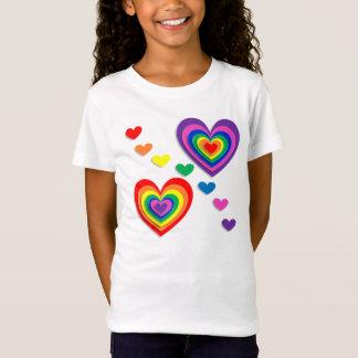 Colourful Rainbow Love Hearts T-Shirt