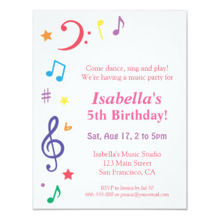 Colourful Rainbow Music Themed Birthday Party Card at Zazzle