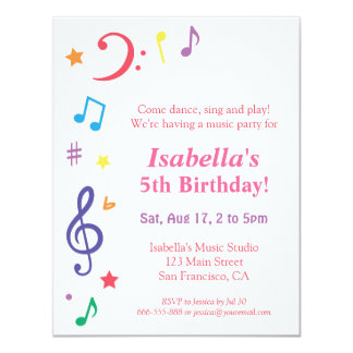 Colourful Rainbow Music Themed Birthday Party Card