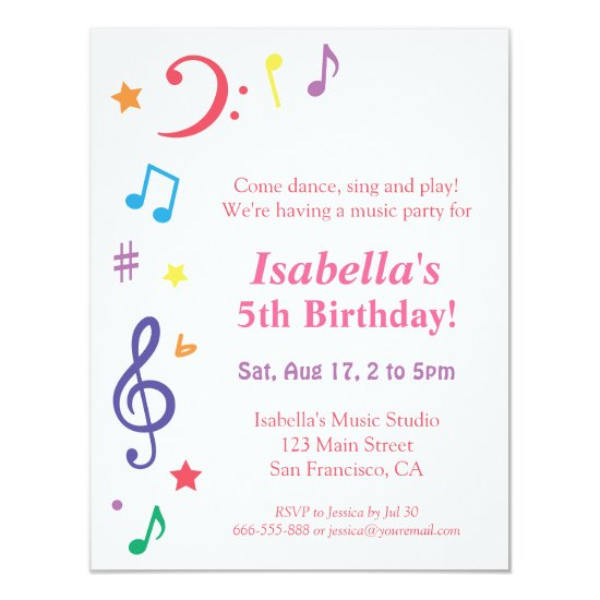Colourful Rainbow Music Themed Birthday Party Invitation
