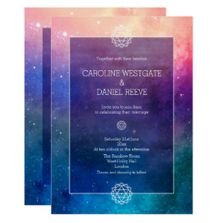 Colourful Rainbow Nebula Wedding Invitation