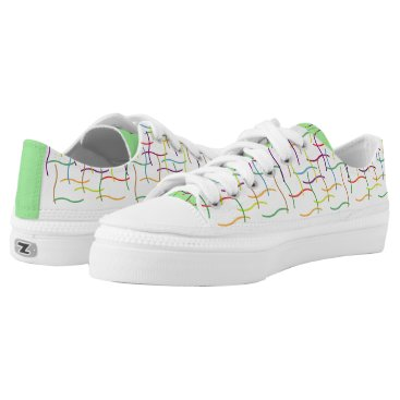 USA Themed Colourful Random Lines Pattern Low-Top Sneakers