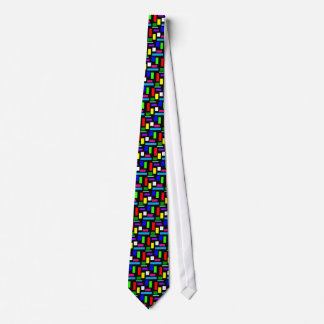 Colourful Rectangles on Black Tiled Tie