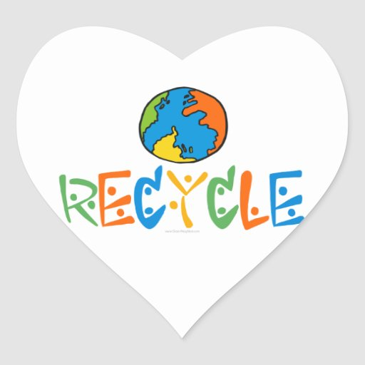 Colourful Recycling Heart Sticker