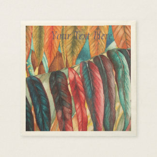 colourful red and gold autumn leaf art paper napkins