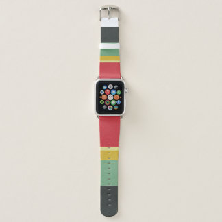 COLOURFUL RED AQUA YELLOW  BLUE VINTAGE STRIPS APPLE WATCH BAND