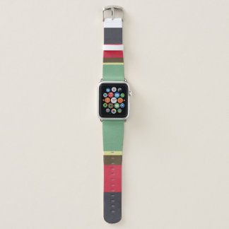 COLOURFUL RED AQUA YELLOW NAVY VINTAGE STRIPS APPLE WATCH BAND