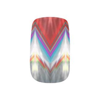 Colourful Red Blue Grey ZickZack Chevron Nail Art Minx® Nail Wraps