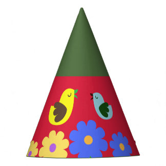 Colourful Red-Green animal figures party hat