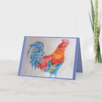 Colourful Red Rooster Watercolour Blue Card