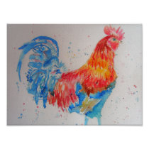 Colourful Red Rooster Watercolour Poster