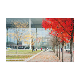 Colourful red urban autumn foliage stretched canvas print