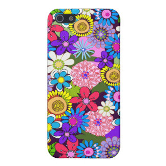 Colourful retro flowers cover for iPhone SE/5/5s