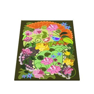 Colourful Retro Flowers, Love birds & Swirls Canvas Print