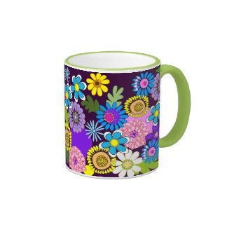 Colourful retro flowers Mug