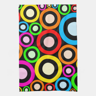 Colourful Retro Rings Wallpaper Kitchen Towel
