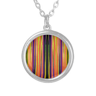 Colourful ripped paper pattern silver plated necklace