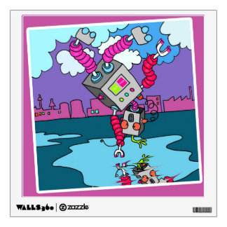 Colourful Robot Square Wall Decal