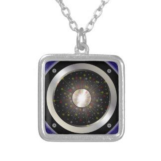 Colourful Rock Guitar Speaker Silver Plated Necklace