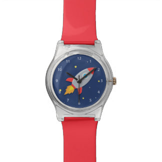 Colourful Rocket Ship, Outer Space, For Boys Wristwatch