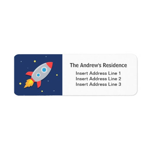 Colourful, Rocket Ship, Outer Space, For kids Custom Return Address Label