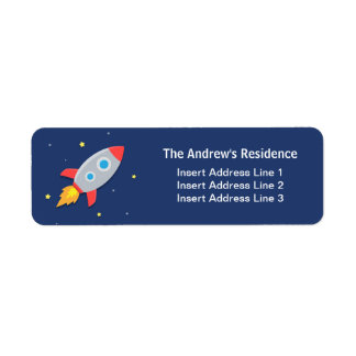 Colourful, Rocket Ship, Outer Space, For kids Return Address Label