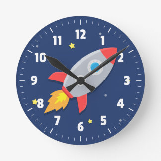 Comwall Clock For Kids Room : Colourful Rocket Ship, Outer Space, For Kids Room Round Wallclocks
